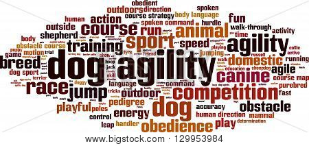 Dog agility word cloud concept. Vector illustration