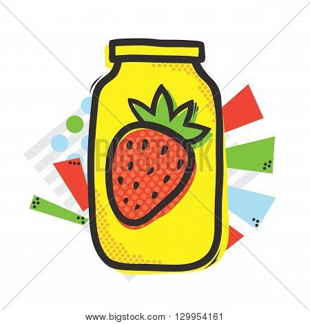 Mason jar and strawberry isolated vector illustration in popart style