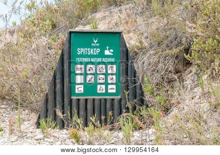 KNYSNA SOUTH AFRICA - MARCH 5 2016: An information board at the Spitskop viewpoint in the Ysternek Nature Reserve in the Knysna Forest