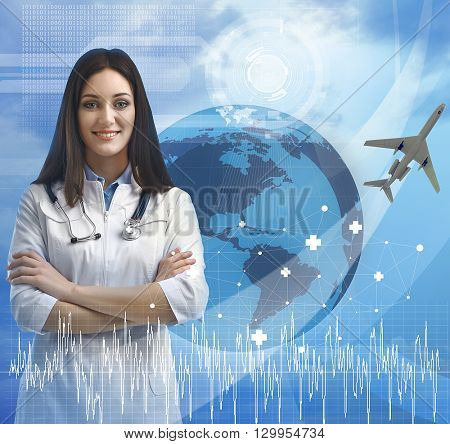 Young  doctor and virtual screen. Medical tourism concept