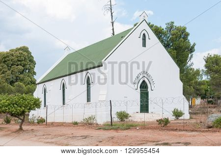 UNIONDALE SOUTH AFRICA - MARCH 5 2016: The Voortrekker Hall previously the first building of the Dutch Reformed Church Uniondale inaugurated on 14 November 1862