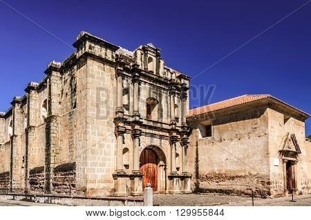 Exterior of Las Capuchinas 18th-century church & convent ruins in colonial city & UNESCO World Heritage Site of Antigua.