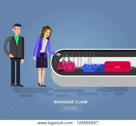Vector detailed characters people in airport lounge. Woman baggage claim, flat  illustration