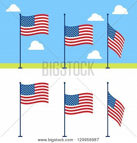 Flat USA flags vector set. United States flag color vector illustration on blue sky background with clouds. Stages of descent or raising the US flag on flagpole