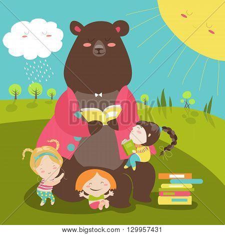 Cute bear reading book for girls. Vector illustration