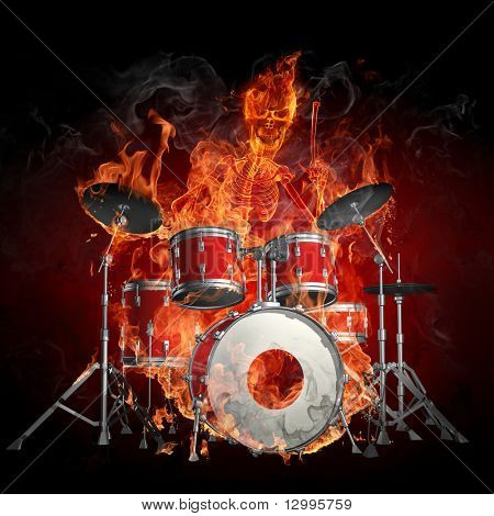 Drummer - feurig-Illustrationen