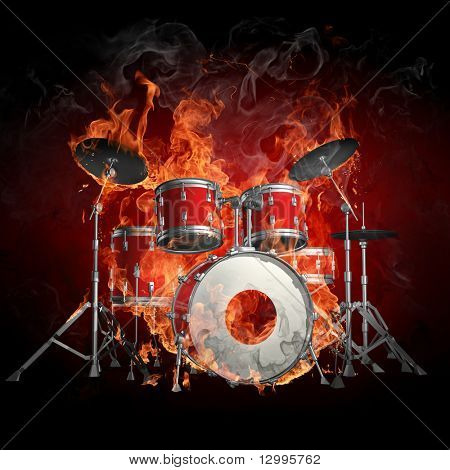 Drums in fire - Series of fiery illustrations