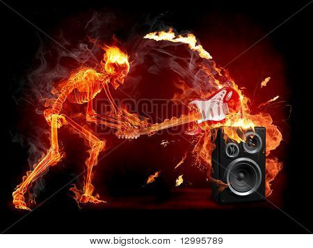 Crush guitar. Fiery skeleton breaks a guitar. Series of fiery illustrations.