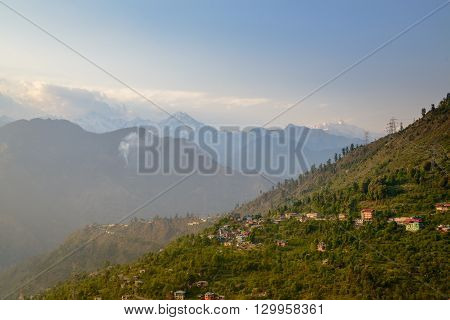 Sunrise in Himalaya mountains in morning scenic landscape view. Sarahan, Himachal.