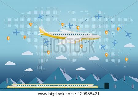 Flat vector web banner on the theme of travel by train and airplane vacation adventure. Flat plane and train. The plane on a background map of the world. Tags travel on the world map.