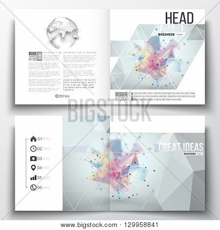 Set of annual report business templates for brochure, magazine, flyer or booklet. Molecular construction with connected lines and dots, scientific pattern on abstract colorful polygonal background