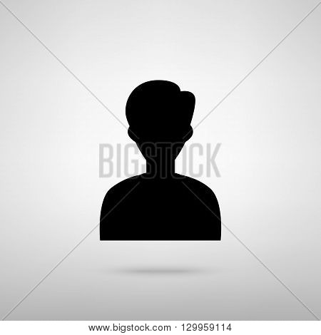 User avatar. Anonimous sign. Black with shadow on gray.