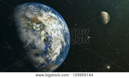 View on planet earth and moon from space