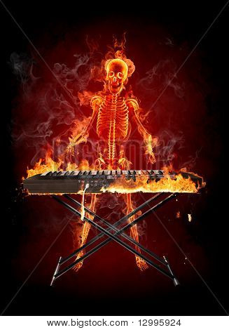 Keyboardist Series of fiery illustrations
