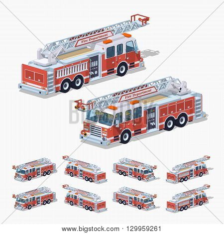 Fire truck. 3D lowpoly isometric vector illustration. The set of objects isolated against the white background and shown from different sides