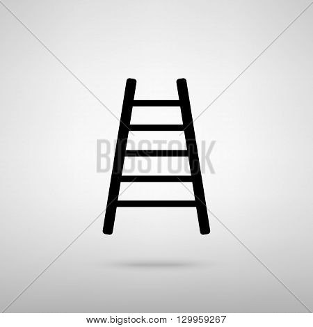 Ladder sign. Black with shadow on gray.