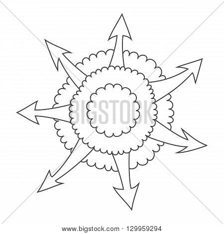 Hand drawn cloud with outgoing arrows. Comic bang with arrows. Downloads from internet cloud. Bang icon diagram. Simplify design vector illustration.