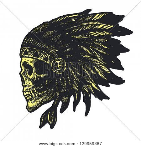 skull indian chief hand drawn vector illustration