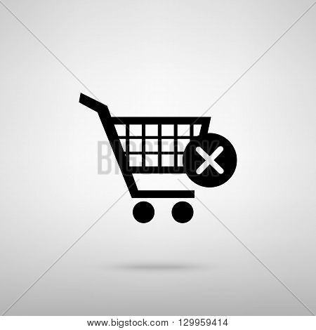 Shopping Cart and X Mark Icon, delete sign. Black with shadow on gray.