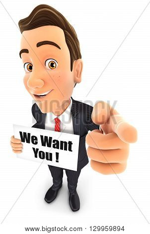 3d businessman with we want you message isolated white background