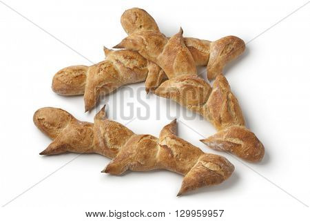 Two French pain d'epi or wheat stalk bread on whote background