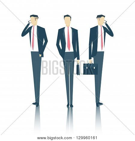 vector set of business people standing face and side with a briefcase and talking on a cell phone business vector illustration