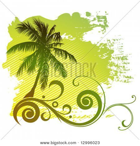 Vector tropical palm tree