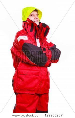 Hooded Man Wearing Oilskin.