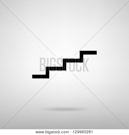 Stair up sign. Black with shadow on gray.