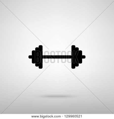 Dumbbell weights sign. Black with shadow on gray.