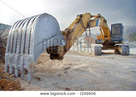 Big Bulldozer At Construction Site