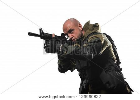 Soldier Man Hold Machine Gun On A White Background