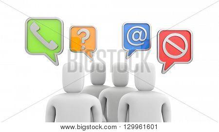Communication theme - People talking. 3d illustration