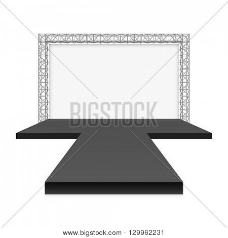 Low Stage with banner, metal truss system vector illustration