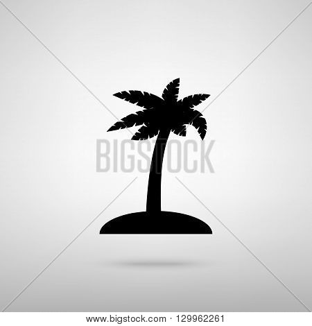 Coconut palm tree sign. Black with shadow on gray.
