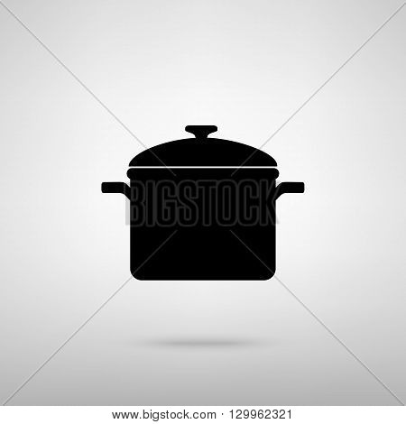 Cooking pan sign. Black with shadow on gray.