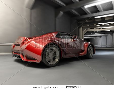 Red sport car in tunnel.  My own car design. Not associated with any brand.