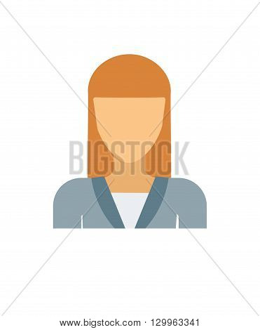 Flat vector avatar face character person portrait user icon. Avatar face head and cartoon woman avatar face.  Cartoon girl flat avatar face. Business design isolated avatar cute student sign.