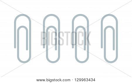 Realistic illustration paper clip vector. Paper office clip and business metal office clip. Equipment office clip and school paper clip office. Steel binder accessory stationery paper office clip.