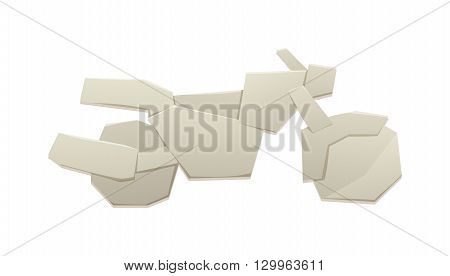 Paper bike vector, bicycle paper sign icon. Eco delivery paper bike. Family vehicle paper bike symbol. Paper bike icon vector origami kid toy. Paper bike sport decorative transport design.