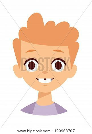Adorable young happy boy smile face. Boy smile face vector illustration and happy boy smile face. Boy smile face happiness joy childhood. Smiling small youth human boy face character.