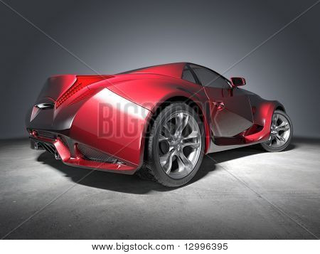 Red sports car.  My own car design. Not associated with any brand.