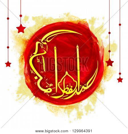 Stylish Arabic Islamic Calligraphy text Eid-ul-Fitr in crescent Moon shape on red paint stroke and hanging stars decorated background for Muslim Community Festival celebration.