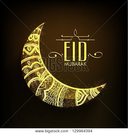 Golden Crescent Moon with Beautiful Floral decoration on brown background for Muslim Community Festival, Eid Mubarak celebration.