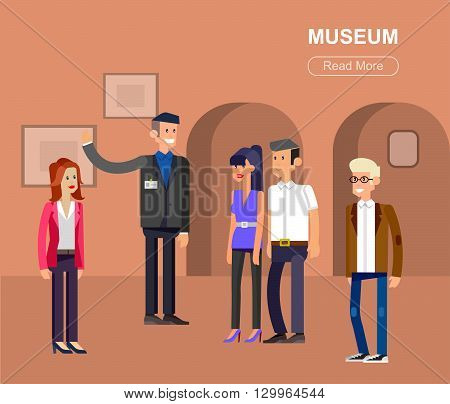 Funny character people in museum, guided tour, exhibition space, flat banners set