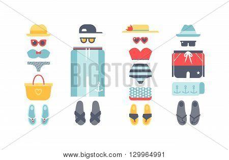 Beachwear bikini cloth fashion looks and beachwear vacation lifestyle. Beachwear women collection, beachwear sea light sexy clothes. Beachwear fashion travel different flat vector summer icons.