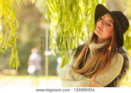 Attractive Girl Warm Herself