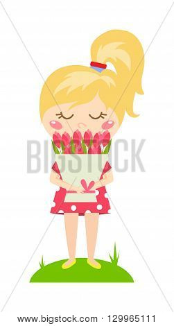 Little cute girl with peony flowers. Child wearing a pink dress playing summer garden girl with bouquet.Girl with bouquet. Children girl with bouquet outdoors. Toddler girl with flower bouquet.