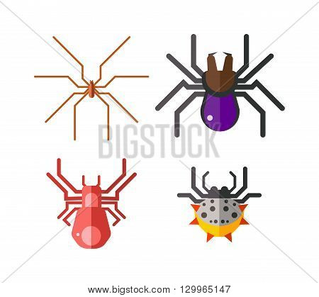 Set of danger insects on white background. Danger insects vector animal bugs set and danger insects pest nature animal. Infection wildlife disease danger insect and poisonous virus dengue health fever.
