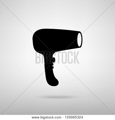Hair Dryer sign. Black with shadow on gray.